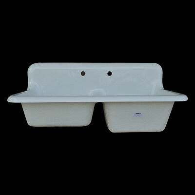 Reproduction Double Bowl Farmhouse Kitchen Sink - Model #DBR4224