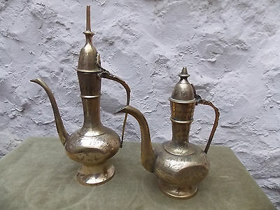 Lovely Pair of Indian Small Decorative Brass Teapots/Coffee Pots