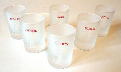 Archers Shot Glasses, Frosted, QTY 6, NEW & Unused