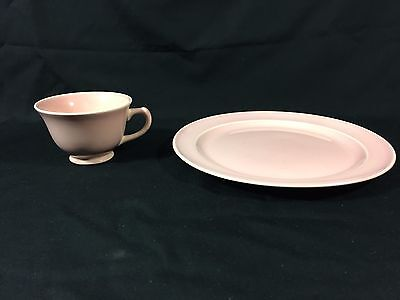 Vintage Ts&t Taylor Smith Pink Luray Dinner Plate And Teacup Cup