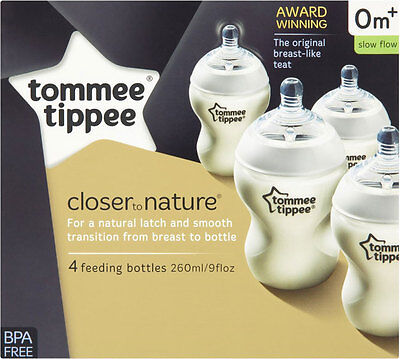 Tommee Tippee Closer to Nature 260ml Feeding Bottle 0mth+ (4) **limited time**