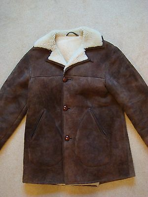 "Mens Vintage VTG Brown Sheepskin Coat Jacket Medium 40"" Made in Scotland"