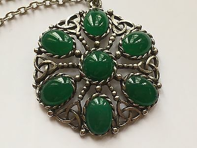 Vintage Signed Sphinx Celtic Design Green Stone Pendant Necklace