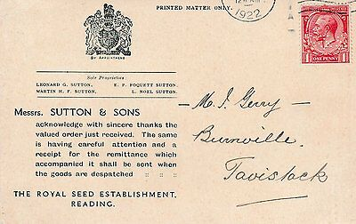 1922 ad picture postcard 1d stamp perfin S&S identity of Sutton & Sons seeds