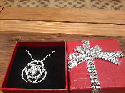 Brand new Silver  Necklace set with a crystal and gift box