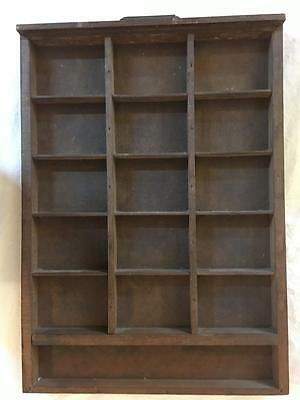 16 Cubby Printer's Tray Vintage Wood Shadow Box Display Case