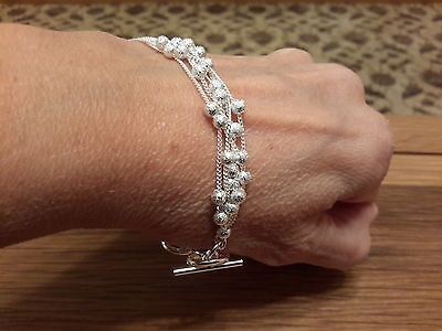 Brand new Silver 925 stamped multi strand beaded bracelet  with gift box