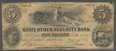 INDIANA RARE R-7 1853 $5. State Stock Security Bank at Newport  NICE F