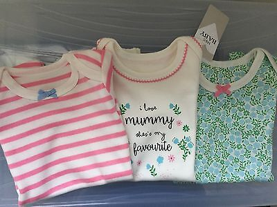 Marks And Spencer M&S 3x Pack 0-3 Month Baby Girl Shorties Romper Bodysuit Bnwt