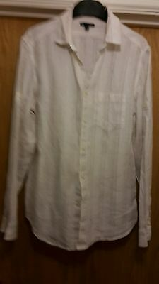 Gap Classic Fit Long Sleeved Linen Shirt Size Small White with Pale Stripe