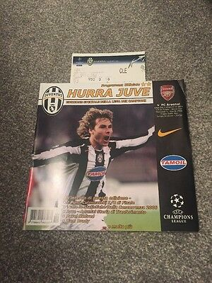 Juventus V Arsenal Champions League Programme And Ticket Stub 5/4/2006