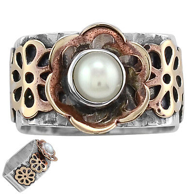 Pearl Two Tone 925 Sterling Silver Ring s.7.5 SDR1411