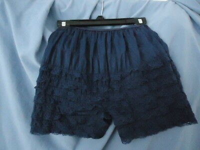 NAVY BLUE BLOOMERS LACE PETTIPANTS SHORTS VTG LINGERIE WOMENS S Dance COSTUME