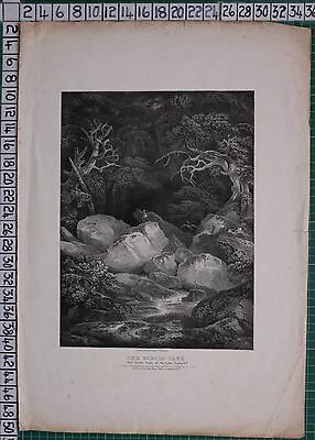 1827 DATED ANTIQUE PRINT LITHOGRAPH by FRANCIS NICHOLSON THE GOBLIN CAVE