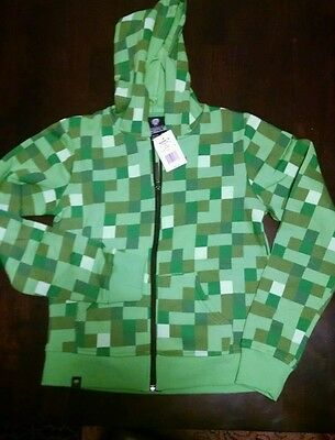 Minecraft Creeper Youth Zip Up Hoodie, size Small