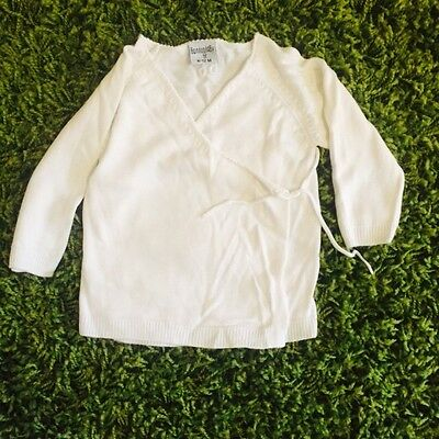 Bamboo Baby Cream Wrap Around Cardigan 6-12 Months Large Fit New But Washed