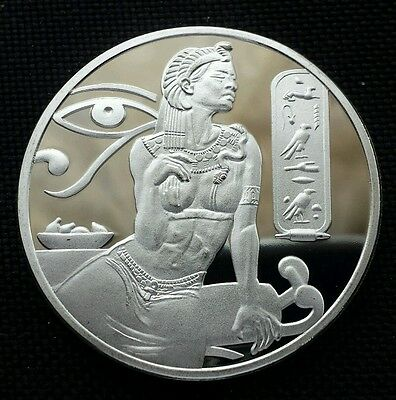 Pyramid Egypt Girl Κλεοπάτρα Kleopátra Eye Silver Plated Commemorative coin