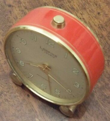 Adorable Red & Gold Vintage Looping Swiss Travel Alarm Clock 1950s