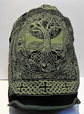 """Backpack Celtic TREE OF LIFE 18"""" x 16"""" Indian Cotton Drawstring Wiccan Tote NEW"""
