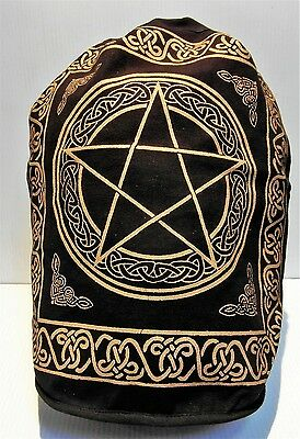"Backpack PENTACLE 18"" x 16"" Indian Cotton Drawstring Wiccan Bag Book Tote NEW"