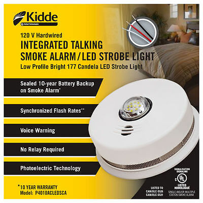 Kidde P4010ACLEDSCA integrated 120 VAC wire-in smoke alarm with LED strobe