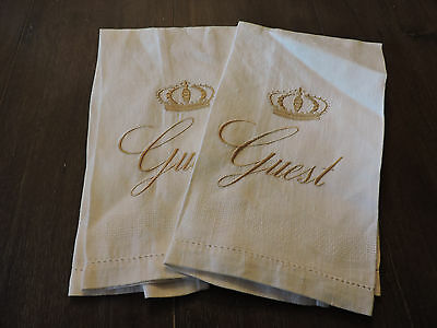 Embroidered Guest Towels Ivory Linen Brocade with Gold Stitching Crown Set of 2