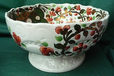 Rare Large Pretty Antique Gaudy Welsh Green Fruit Bowl Great Quality Item