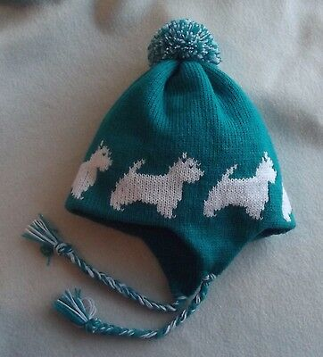 West Highland White Terrier Dog Jade Green Adult Size Trapper Ear Flap Hat