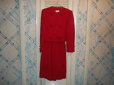 vintage Beautiful 80's Raul Blanco red 2 piece suit--skirt & jacket - sz 4
