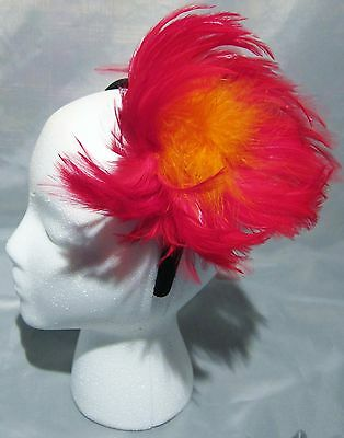 Red Orange Feather Fascinator Black Headband Party Club Church Costume Retro