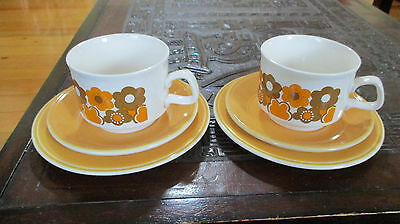 Retro 70s Staffordshire china - Brown and Orange cup, saucer and plates