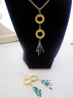 Handmade Sunshine On A Rainy Day  Necklace And Earring Set Silver Plated