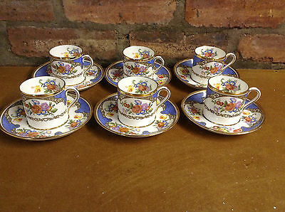 Hammersley Gilt and Floral 6 Coffee Cups and Saucers