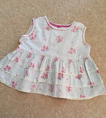 Girls Top/Blouse Monsoon Age 18 Months To 2 Years Pink Floral 100% Cotton