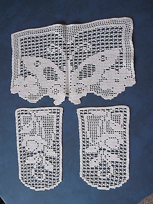 Vintage Hand Crocheted Chair Couch Arm & Head Rest Protector Cover Ivory Cream