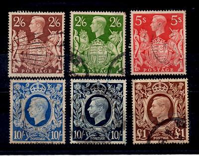 1939-48 George VI ARMS FINE USED Sg.476,476b,477,478, 478b and 478c