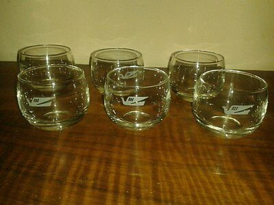 Vintage & Very Rare Braniff Airways Lot Of 6 Glasses Or Cups