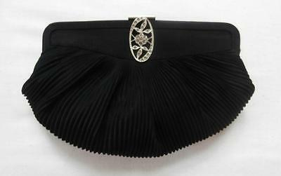 Vintage Early 1930's Deco Black Pleated Evening Clutch Tango Bag with Flip-Clasp