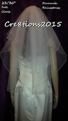 Ivory wedding veil scattered diamante rhinestones Elbow length circle 2T 23/30""