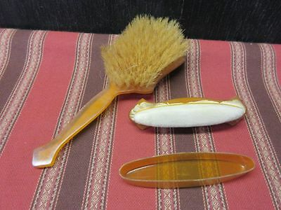 Vintage hairbrush & nail buffer w/ mother of pearl handles