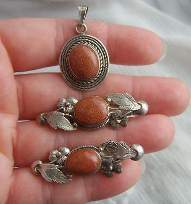 Fine VINTAGE 925 SILVER Mounted Goldstone Pendant with 2 Foliage Leaf Brooches