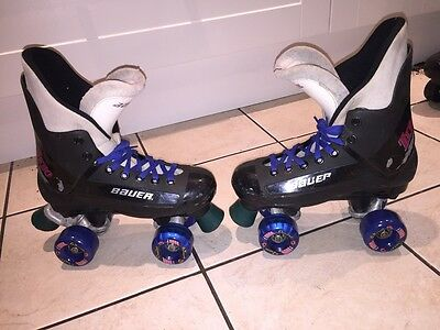 BAUER TURBO QUAD ROLLER SKATES  80s/90 - WITH NEW KRYPTOS UK 6