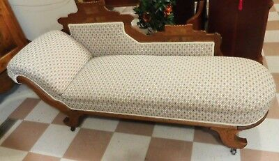 American Victorian Eastlake Fainting Couch with New Reupolstered.