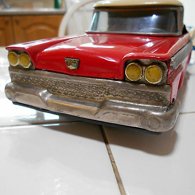 Vintage 1959 Cragstan Ford Fairlane 500 Skyliner Battery Operated Toy Car Red