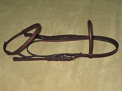 EUC~Gorgeous & HIGH QUALITY English SQUARE RAISED Brown Hunter Snaffle Bridle