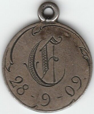 1909 Sweden 10 Ore Love Token Engraved Silver Small 15mm Very Nice