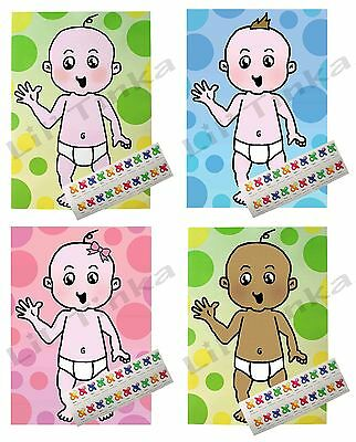 PIN THE DUMMY BABY SHOWER GAME.  Boy & Girl. Pink, Blue & Neutal. 20 & 40 Player