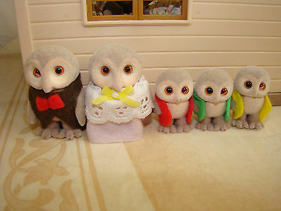 VINTAGE Discontinued Sylvanian Families The Plume Owl Family RARE