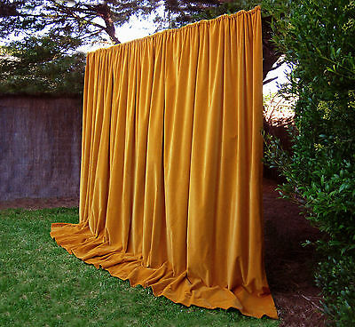 Large Vintage Golden Ochre Thick Velvet Black Out Curtains Drapes Long And Heavy