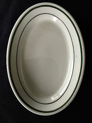 1 Irox China Green Stripe Restaurant Ware Oval Side Plate   - 6.5""